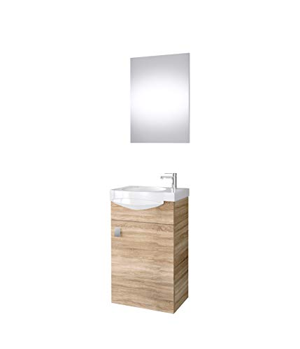 Planetmöbel Badmöbel Set Gäste WC Waschtischunterschrank Keramikwaschbecken Spiegel Sonoma Eiche