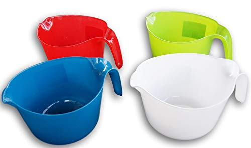 Lightweight Plastic 3 Quart Pourable Mixing Bowls - Set of 4 - Green, White, Red, and Blue