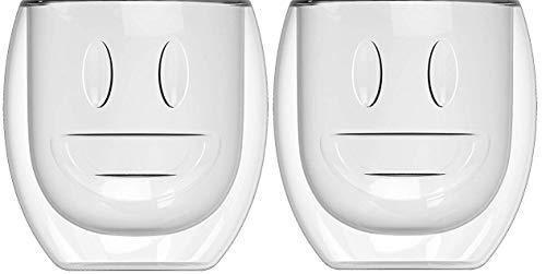 Yeppers 2X 390ml No.2 doppelwandige Gläser mit Gesicht gerade/Thermogläser/Gläser/Teegläser/Kaffeegläser mit Schwebeeffekt by Feelino