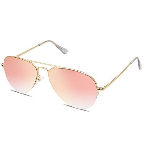 SOJOS Gafas De Sol Clasico Para Mujer Hombre Marco De La Mitad INSPIRATION SJ1106 Con Marco Dorado/Lente Espejo Rosado