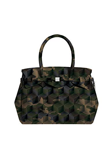 save my bag Borsa a mano spalla donna MISS PLUS STAMPATA Camo green 180x290x340 mm