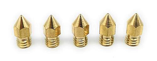 Turmberg3D - mk8 nozzle set 5stk - voor 1.75mm, messing hotend mondstuk voor 3D-printers, ANET A6, A8, CTC, Cr-10, Set - 5x 0.3 mm, 5