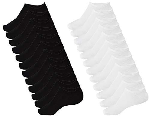 OEMEN Calzini Corti - 6 &12 PAIA - 97% COTONE - Fantasmini Mini Calze Nero e Bianco, Uomo...