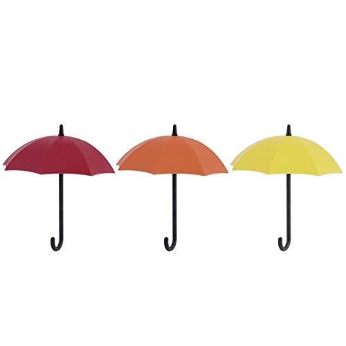 LoveOlvido 3 Colori Ombrello Appendiabiti da Parete Portaoggetti Portatile Camera da Letto Decorazione da Parete Portachiavi Moderno Organizzatore per la casa colorato - Rosso & Arancione & Giallo