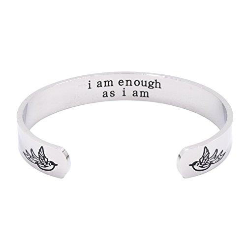 """Inspirierendes Motivations-Armband mit der Inschrift """"I am enough as I am"""", Bohemian-Schmuck, Armreif aus Edelstahl"""