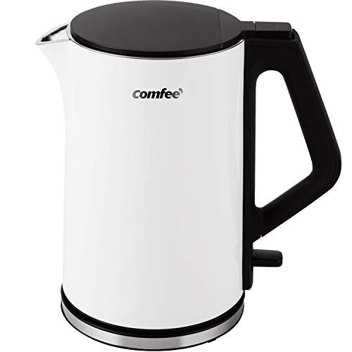 COMFEE' 1.5L Double Wall Stainless Steel Electric Kettle with 100% Stainless Steel Inner Pot and Lid. Cool Touch & BPA Free. 1500W Fast Boil. Cordless with Auto Shut-Off & Boil Dry Protection. White