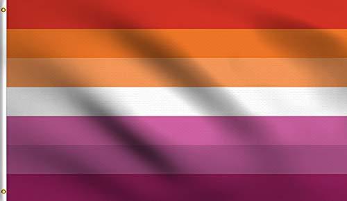 DMSE Pride Series Flag 3X5 Ft Foot 100% Polyester 100D Flag UV Resistant (Lesbian Sunset)