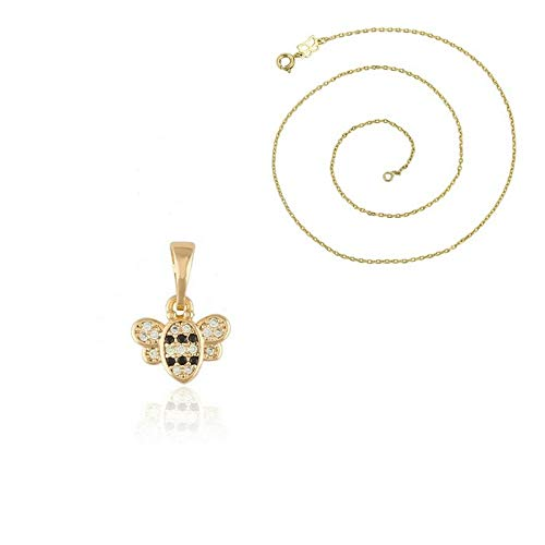 Bee Pendant Necklace with Laminated Yellow Gold Crystal for Children
