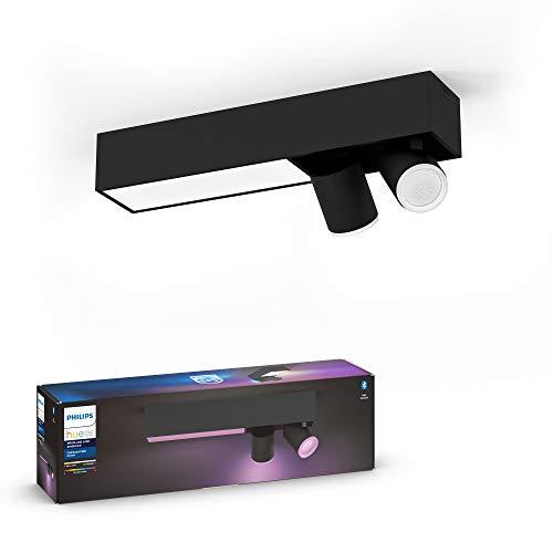Philips Hue White & Col. Amb. LED 2-er Spotleuchte Centris, schwarz, dimmbar, 16 Mio. Farben, steuerbar via App, kompatibel mit Amazon Alexa (Echo, Echo Dot)