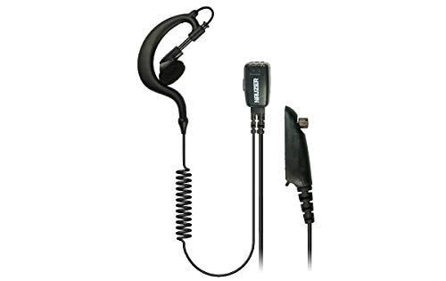 NAUZER PIN-29-M4.Micro-Auricular orejera, Cable Rizado Negro PTT, Compatible con los Walkies Motorola Profesionales: GP140 / GP320 / GP328 / GP329 / GP340 / GP360 / GP380 ETC