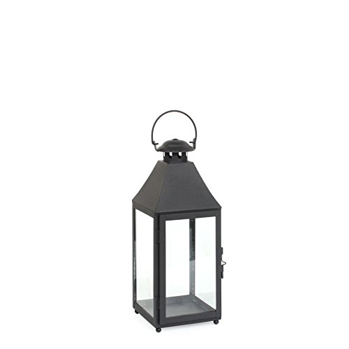 Mica decoraties BILBAO lantaarn, metaal, zwart
