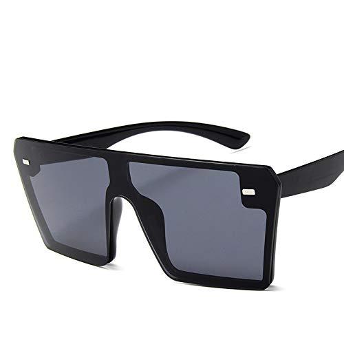 Moda Gafas De Sol Cuadradas De Gran Tamaño con Parte Superior Plana, Gafas De Sol con Gradiente Retro A La Moda para Mujer, Gafas De Sol con Montura Grande Azul, Gafas Vintage Uv400, Negro