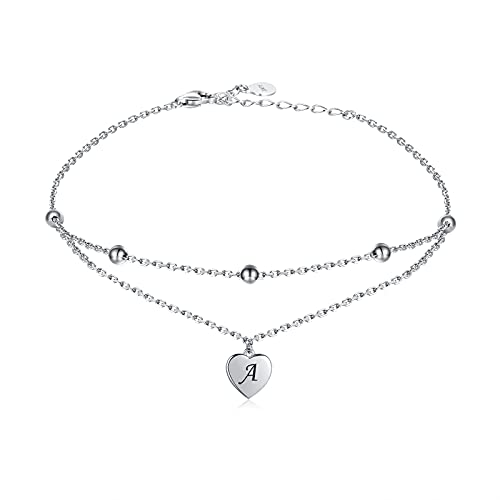 Heart Initial Ankle Bracelets for Women 925 Sterling Silver Layered Letter Heart Anklets for Teen Girls Summer Beach Foot Jewelry Gifts
