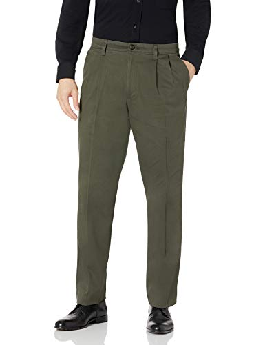 Dockers Men's Classic Fit Easy Khaki Pants-Pleated, Olive Grove-Green, 38Wx32L