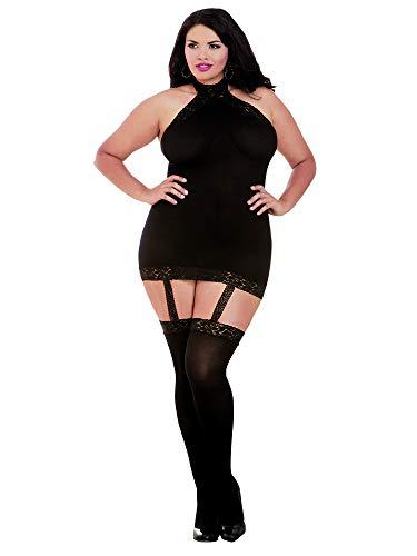 Dreamgirl Women's Plus Size Semi-Sheer Halter Garter Dress with Thigh High Stockings, Black, O/SQ