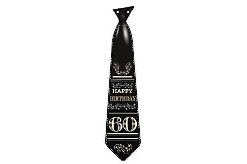 Dream' s Party 8 Sagoma Cravatta cravattone in Carta per i 60 Anni - Idea Scherzo Gadget per la Festa di Compleanno del/della Neo Sessantenne - Colore Nero con Numero 60