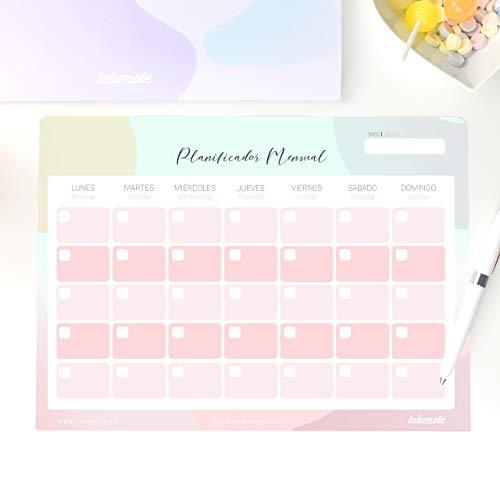 Takenote, planner mensile perpetuo astratto, 32 x 23 cm, colore: lilla