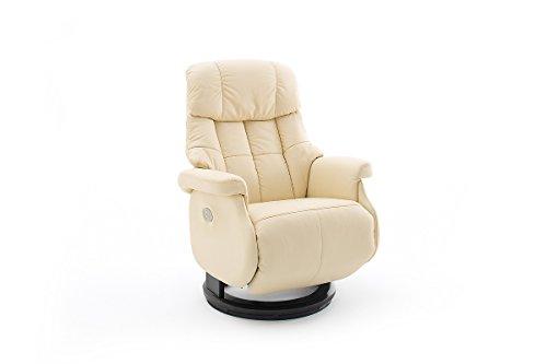 Robas Lund Leder Relaxsessel elektrisch 150 Kg TV Sessel, Relaxer Fernsehsessel Echtleder Creme, Calgary Comfort XXL