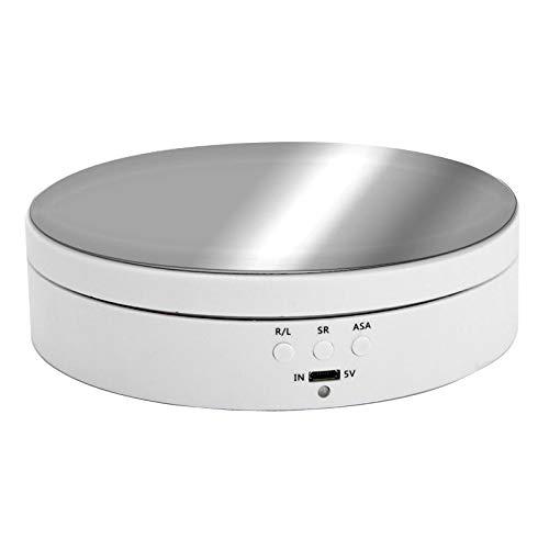 LuDa 360度ターンテーブル 360度回転台 時計回り/反時計回り 電動ターンテーブル 展示テーブル 耐荷重:2-4kg 低騒音 省電力 窓展示/フィギュア/撮影用 全2選択- 白