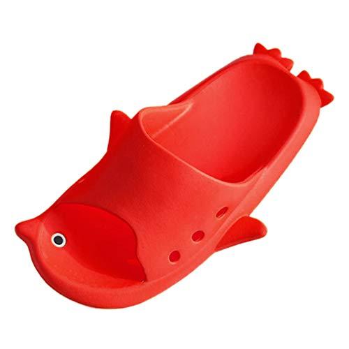 Dorical Cartoon Pinguin Aqua Dusch-& Badeschuhe Sommer Slide Hausschuhe für Kinder Männer Frauen Indoor Open-Toe Sandalen Ausverkauf(Rot,32-33 EU)