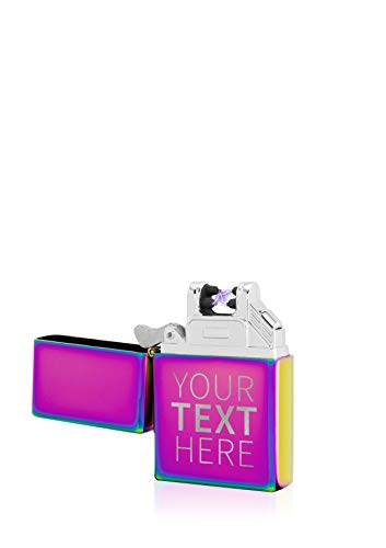 TESLA Lighter T03 Lichtbogen Feuerzeug Elektronisch, mit Wunsch-Gravur, personalisiert als Geschenk zu Weihnachten, Geburtstag etc. wiederaufladbar per USB inkl. Geschenkverpackung Regenbogen