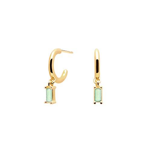 PD Paola 32012104 - Pendientes de aro para mujer (plata 925, circonitas, talla única), color verde
