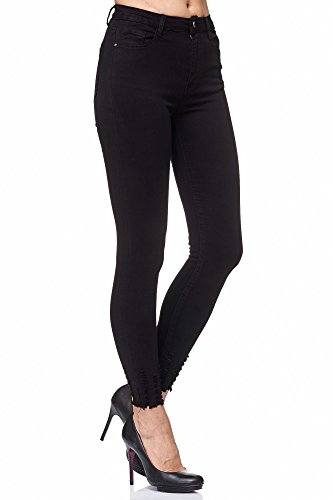 Elara Damen Jeans Stretch High Waist Skinny Slim Chunkyrayan 4D433 Black 38 (M)