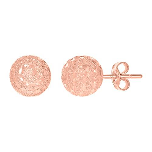 Pendientes de oro rosa de 14 quilates para mujer, 10 mm, joyería para regalo para mujer