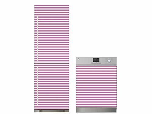 Oedim Pack Vinilo para Frigorífico + Vinilo para Lavavajillas Rayas Rosa, Adhesivo Resistente y Económico, Pegatina Adhesiva Decorativa de Diseño Elegante
