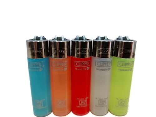 KOFY Clipper Refillable Cigarette Lighters - 5 pcs Assorted Colors