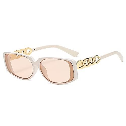 AMFG Gafas de sol de cadena de metal retro hombres y mujeres Trend Gafas de sol Dress Up Regalo Driving Mirror (Color : C)