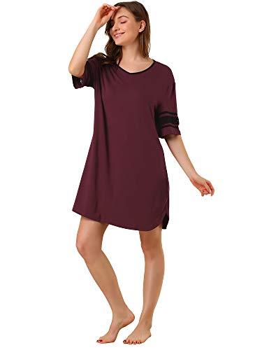 Allegra K Camisa De Pijama Suave Camisón Vestido Pijama Ropa De Dormir Manga Corta para Mujer