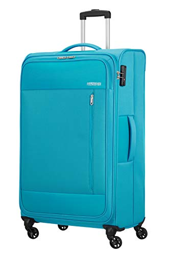 American Tourister Heat Wave - Spinner XL Maleta, 80 cm, 92 L, Azul (Sporty Blue)