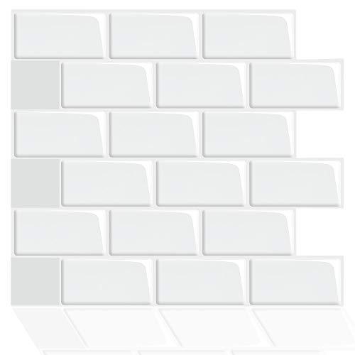 ZXF Pegatinas de baldosas, 4 unids Decoración para el hogar 3D Impermeable Auto Adhesivo Mosaico Vinilo Etiqueta de Vinilo Tiles Peel and Stick Cocina