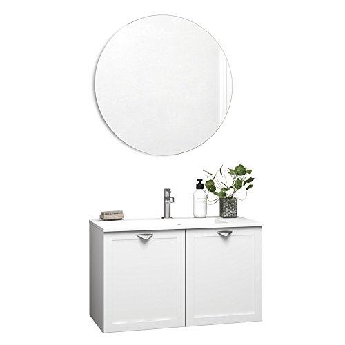 Dansani Luna Waschtisch Allegro mit Rahmentüren Weiß matt und LED-Spiegel 60-80cm (60cm)