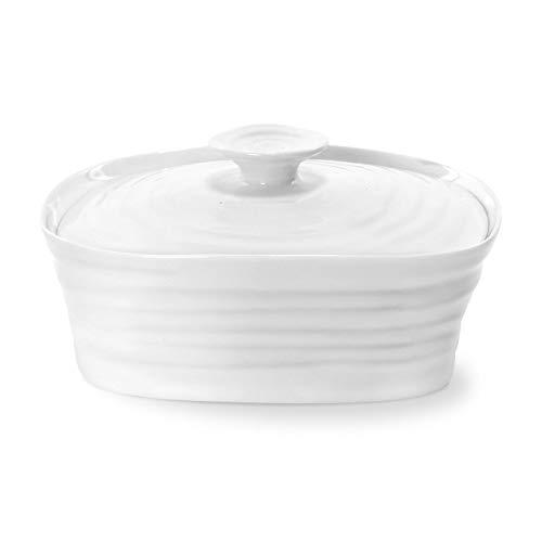Portmeirion Home & Gifts Beurrier avec couvercle, porcelaine, blanc, 12 x 15,5 x 6 cm