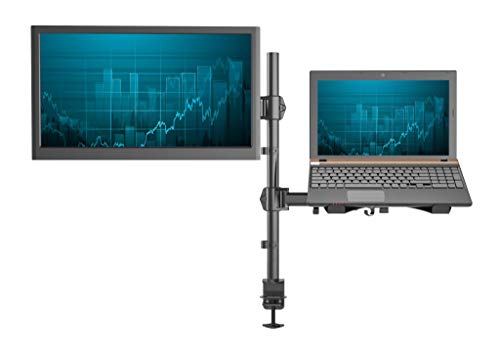 "SHOPPINGALL Fully Adjustable Dual Gas Spring 2 in1 Monitor & Laptop OR Double Monitors Mount Stand with 2 Swing Arms for Monitors up to 32"", Desk Clamp and Grommet Mounting Options Included - SA-LH07"