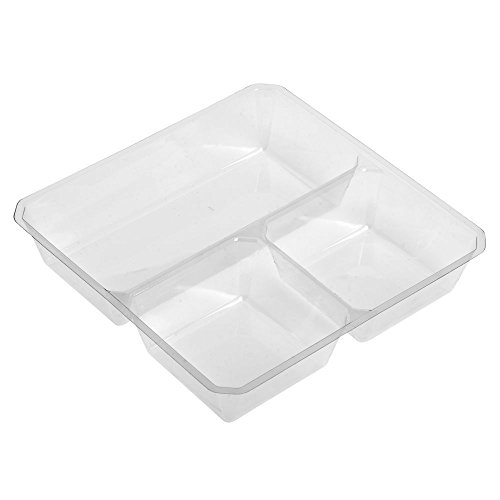 "GoCubes Clear PET Plastic 3-Compartment Insert - 5 1/8""L x 5 1/8""W x 3/8""H"