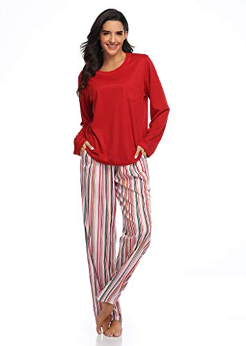 SHEKINI Pijama Mujer Invierno Dos Piezas,Manga Larga Camiseta y Pantalones Largos con Rayas Arcoiris Suave y Comodo