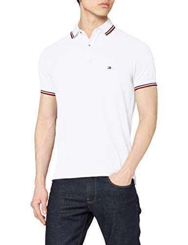 Tommy Hilfiger Herren Tommy Tipped Slim Polo Poloshirt, White, S