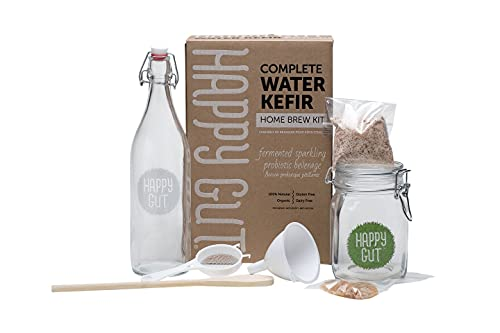 Water KEFIR STARTER KIT By Happy Gut- Includes water kefir grains, fermentation jar, swivel-top bottle, wooden spoon, strainer, and funnel. Use this kit to create your own.