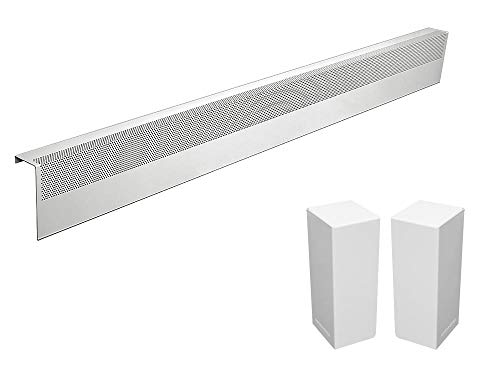 Baseboarders Basic Series Galvanized Steel Easy Slip-On Baseboard Heater Cover in White (5 ft, Cover + L&R End Caps)