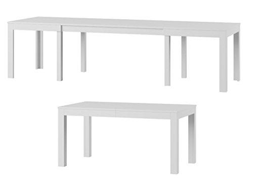 Furniture24 Tisch Küchentisch Esszimmertisch Esstisch WENUS ausziehbar 300 cm !!! (Weiss)