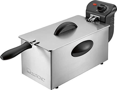 Clatronic FR 3586 Edelstahl-Fritteuse mit Kaltzonentechnik, 3 L, 2000 W, Edelstahl-Heizspirale (herausnehmbar)