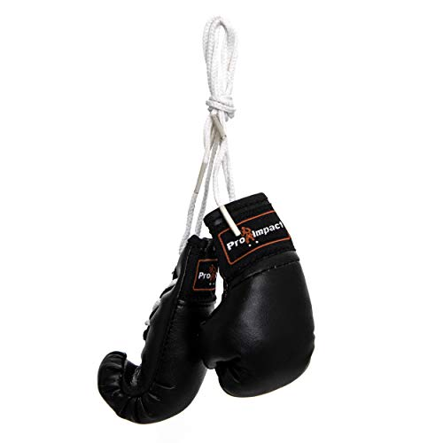 Pro Impact Mini Boxing Gloves - Miniature Punching Gloves - Hanging Decoration or Souvenir Display - for Home & Car Use - 1 Pair (Black)