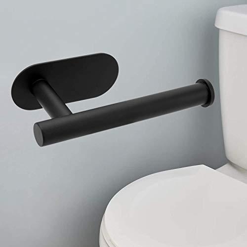 hsj Soporte de papel higiénico 304 de acero inoxidable para toallas de papel sin clavos, soporte para papel higiénico, soporte para toallas de papel sin marcas, duradero (color: negro)