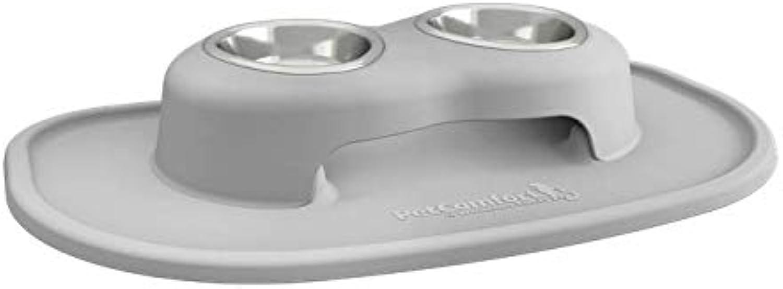 PetComfort Double High Bowl Xl 100% NonToxic, 100% Safe, Ergonomic, Light Grey, Choose Your Size