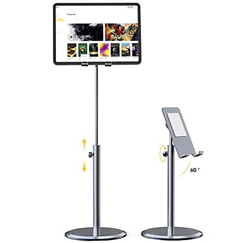Licheers Suporte para tablet estável, feito em liga de alumínio, ajustável para iPad, compatível com capas para telefones de 4,7 a 12,9 polegadas (Cinza)