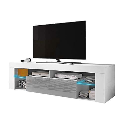 Selsey Bianko – Mueble bajo para TV Blanco Mate / Gris Brillante con iluminación LED, 140 x 35 x 50,6 cm