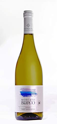 Moscato Bianco | Bio - Schaumwein halbsüß | Muscat d'Alexandrie aus kontrolliert biologische Landbau auf vulkanischer Boden | Naturreiner Restsüße - Qualitätswein | Edler Weißwein Bio Wein 0.75L